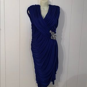 Super sexy Vtg 80s/90s blue ruched polyester dress